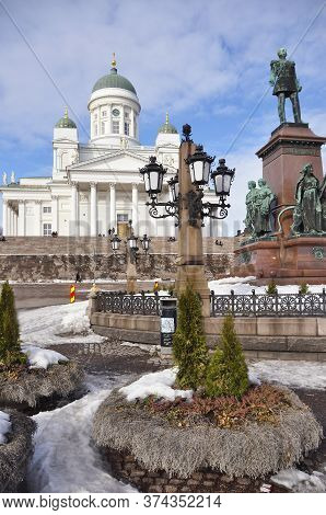 Helsinki Cathedral On Senate Square In Winter, Finland