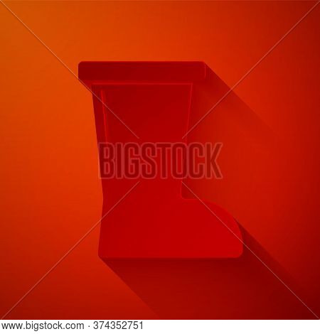 Paper Cut Waterproof Rubber Boot Icon Isolated On Red Background. Gumboots For Rainy Weather, Fishin