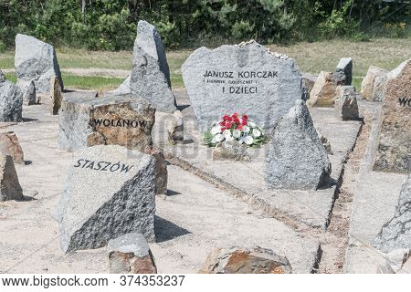 Wolka Okraglik, Poland - June 2, 2020: Memorial Stone To Janusz Korczak (henryk Goldszmit) At Trebli