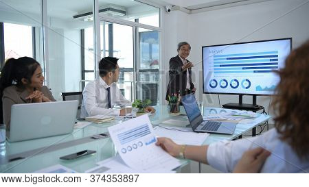 Business Concepts. Company Partners Are Meeting Together In The Office. 4k Resolution.