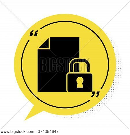 Black Document And Lock Icon Isolated On White Background. File Format And Padlock. Security, Safety