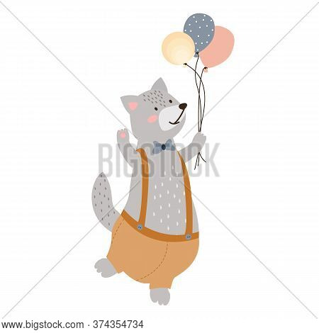 Illustration Of A Cute Cheerful Gray Wolf In Shorts With Balloons In His Hand. Wolf With A Bow On Hi