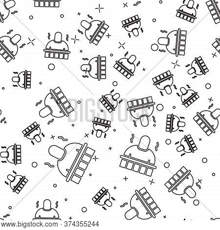 Black Line Sauna And Spa Procedures Icon Isolated Seamless Pattern On White Background. Relaxation B