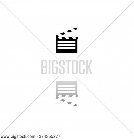 Film Flap. Black Symbol On White Background. Simple Illustration. Flat Vector Icon. Mirror Reflectio