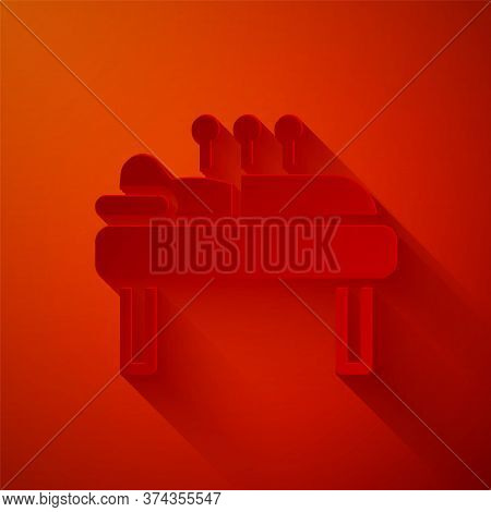 Paper Cut Acupuncture Therapy Icon Isolated On Red Background. Chinese Medicine. Holistic Pain Manag