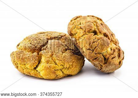 Brazilian Cornbread On Isolated White Background. Homemade Cheese Bread, Called Broa Or Broinha, Foo