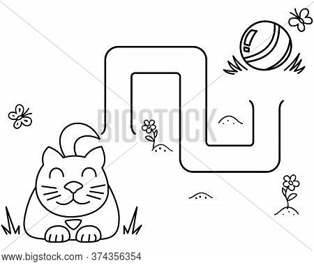 Black Coloring Pages With Maze. Cartoon Cat And Clew. Kids Education Art Game. Template Design With