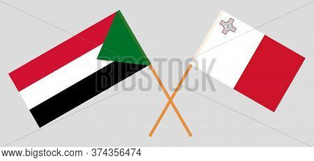 Crossed Flags Of Sudan And Malta. Official Colors. Correct Proportion. Vector Illustration