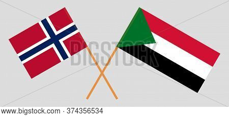 Crossed Flags Of Sudan And Norway. Official Colors. Correct Proportion. Vector Illustration
