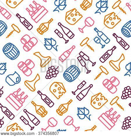 Wine Thin Line Concept Seamless Pattern Background On A White Include Of Bottle, Barrel, Grape, Cork