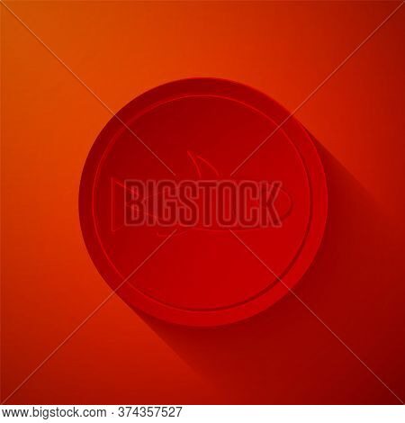 Paper Cut Served Fish On A Plate Icon Isolated On Red Background. Paper Art Style. Vector.