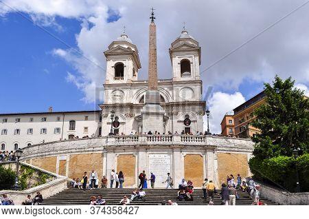 Spanish Steps And Trinita Dei Monti Church, Rome, Italy - May 2018