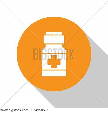 White Medicine Bottle And Pills Icon Isolated On White Background. Medical Drug Package For Tablet,