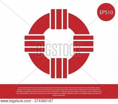Red Lifebuoy Icon Isolated On White Background. Lifebelt Symbol. Vector.