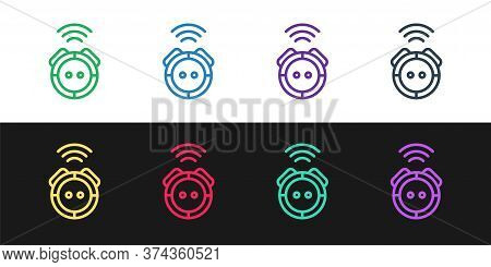 Set Line Robot Vacuum Cleaner Icon Isolated On Black And White Background. Home Smart Appliance For