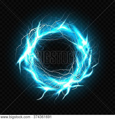 Electric Ball, Lightning Plasma Sphere, Circle Strike Impact Place In Turquoise Color With Lens Flar