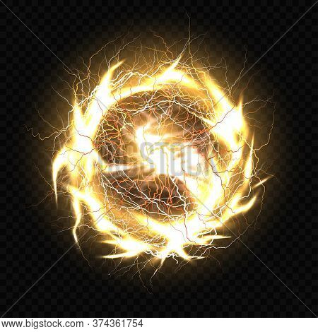 Electric Ball, Lightning Plasma Sphere, Circle Strike Impact Place In Gold Color With Lens Flare Eff