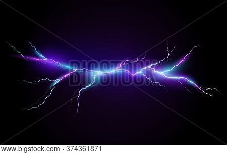 Vector Illustration Of A Realistic Style Of Bright Glowing Lightning Isolated On A Dark Background,