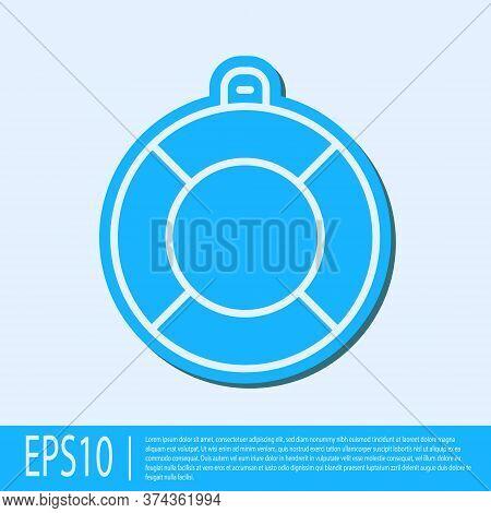Blue Line Lifebuoy Icon Isolated On Grey Background. Lifebelt Symbol. Vector