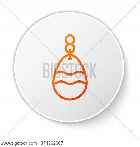 Orange Line Fishing Spoon Icon Isolated On White Background. Fishing Baits In Shape Of Fish. Fishing