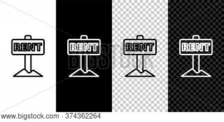 Set Line Hanging Sign With Text Rent Icon Isolated On Black And White Background. Signboard With Tex