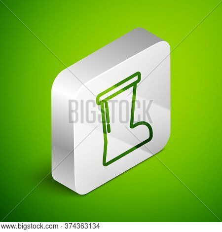 Isometric Line Waterproof Rubber Boot Icon Isolated On Green Background. Gumboots For Rainy Weather,