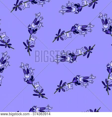 Lavender Flowers, On A Purple Lavender Background. Endless Pattern.