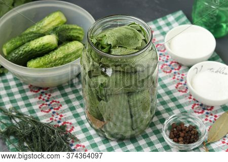 Marinated Cucumbers In Grape Leaves In Jars For The Winter With Garlic And Dill, Preparatory Process