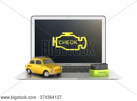 Car Diagnostic Concept Close Up Of Laptop With Obd2 Wireless Scanner And Retro Car On White Backgrou