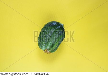 Fresh Ugly Triple Green Organic Cucumber, Vegetable With Unusual Shape On Yellow Empty Background Wi