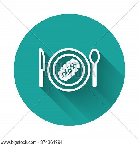 White Line Served Cucumber On A Plate Icon Isolated With Long Shadow. Marine Food. Green Circle Butt