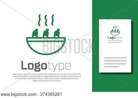 Green Line Soup With Shrimps Icon Isolated On White Background. Tom Yum Kung Soup. Logo Design Templ