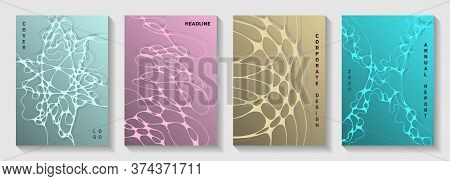 Biotechnology And Neuroscience Vector Covers With Neuron Cells Structure. Rounded Curve Lines Torren