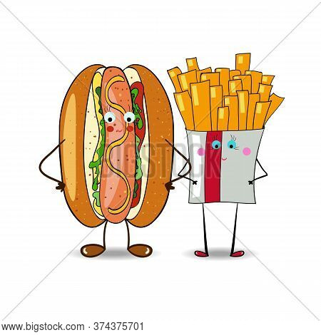 French Fries With Hot Dog Illustration For Fastfood Places. Vector