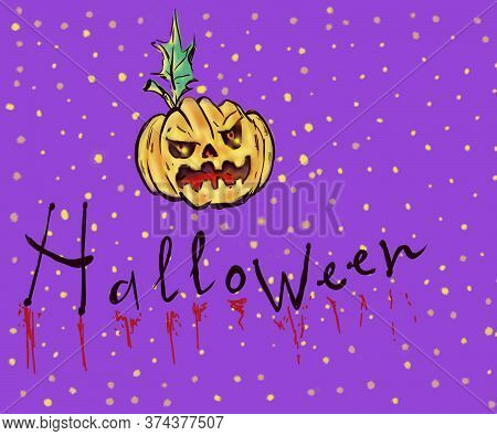 Hand Drawn Illustration Halloween On Purple Background.