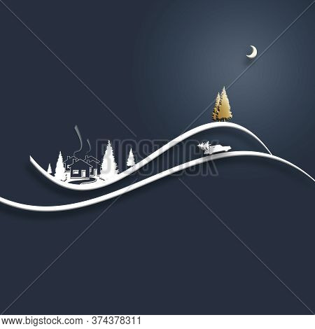 Beautiful Stylish Minimalist Christmas Winter Night Landscape With Houses, Moon, Pine Fir, Car With