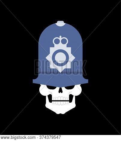 Skull In British Policeman Cap. British Police Skeleton Head