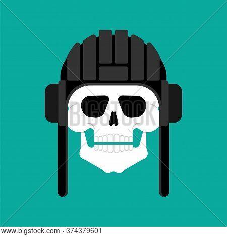 Skull In Tank Helmet. Tanker Trooper Skeleton Head