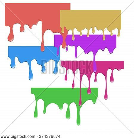 Set Of Dripping Paints. Dripping Multi-colored Liquid. Spill Paint. Falling Paint. Vector Illustrati