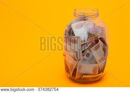 In A Glass Three-liter Jar Are Five Thousandth Russian Bills