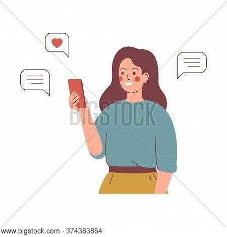 Smiling Girl Sends Messages Via Smartphone. Young Happy Woman Uses A Mobile Phone For Texting. Mobil
