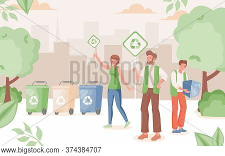 People In Urban Park Recycling Waste Vector Flat Illustration. Man And Woman Hold Placards With Recy