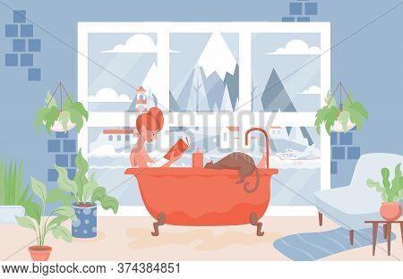 Happy Woman Takes A Bath And Reads Book Vector Flat Illustration. Modern Bathroom Interior Design. W