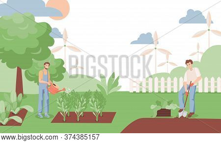 Happy Smiling Men Watering Plants And Digging The Garden Vector Flat Illustration. Farmers, Man, And