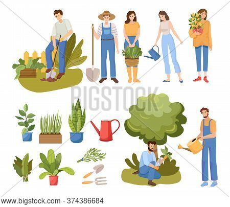 People Gardening Vector Flat Illustration. Men And Women Watering Plants And Digging The Garden, Gro