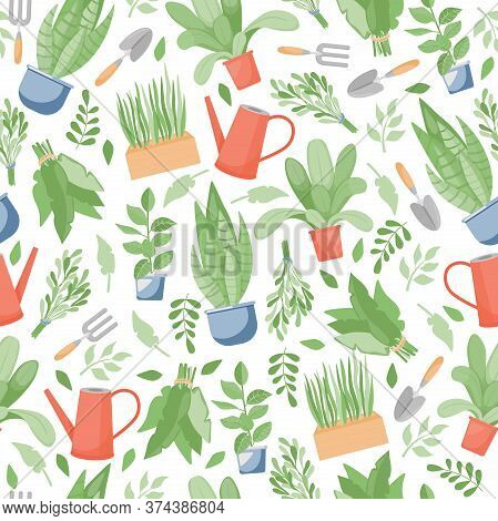 Gardening And Farming Seamless Pattern. Green Plants In Pots, Garden Tools, Watering Can, And Leaves