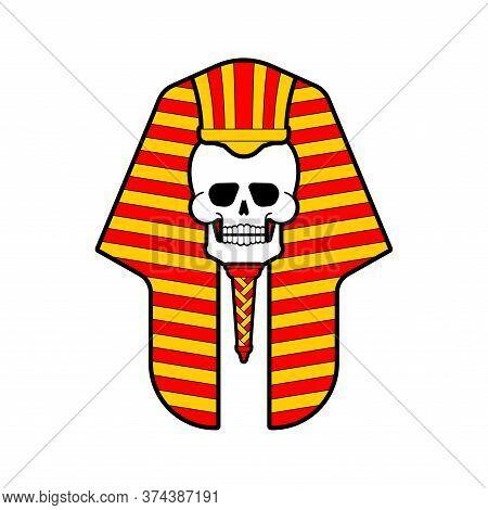 Pharaoh Skull Isolated. King In Ancient Egypt
