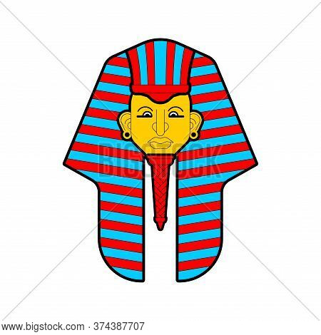 Pharaoh Head Isolated. Face King In Ancient Egypt