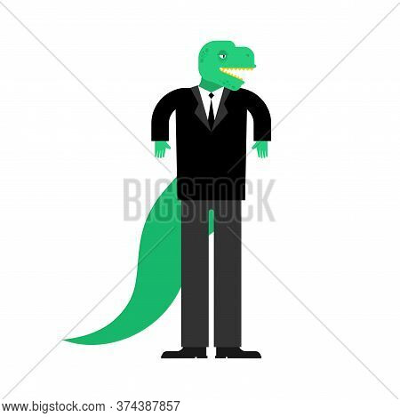 T-rex Boss. Tyrannosaurus Businessman. Dinosaur In Suit