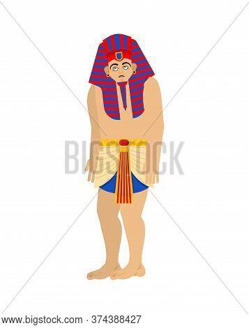 Pharaoh Sad. Rulers Of Ancient Egypt Sorrowful. Vector Illustration